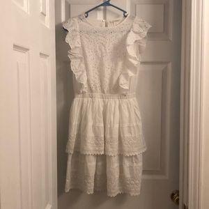 White eyelet lace babydoll dress